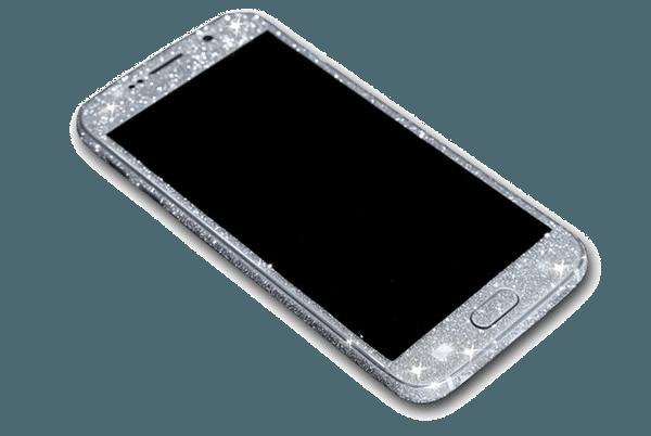 Glitter Sticker Zilver Galaxy S6