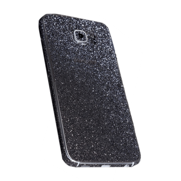 Glitter Sticker Zwart Galaxy S6 Edge