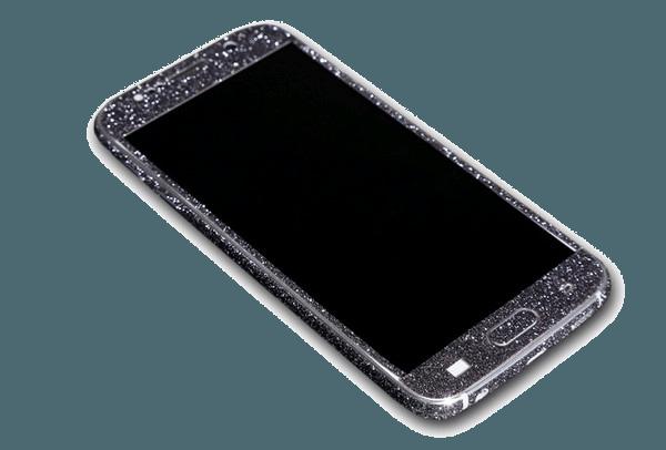 Glitter Sticker Zwart Galaxy S6