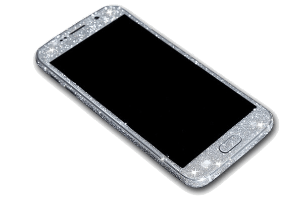 Glitter Sticker Zilver Galaxy S7