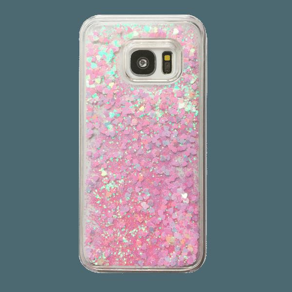 Hartjes Glitter Hoesje Galaxy S7 Edge