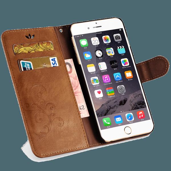 Boek Hoesje Lichtbruin iPhone 6 Plus / 6s Plus