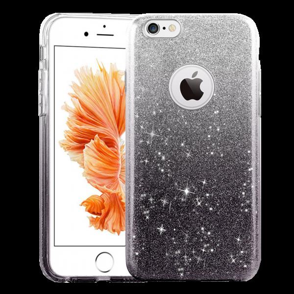 Glitter Hoesje Zwart iPhone 7