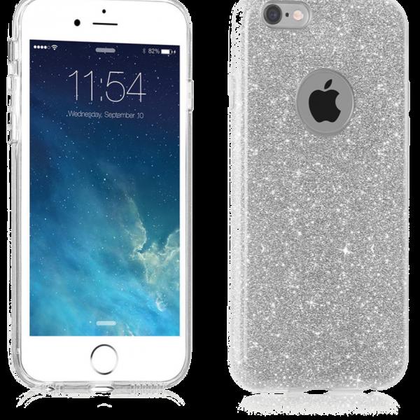 Glitter Hoesje Zilver iPhone 7