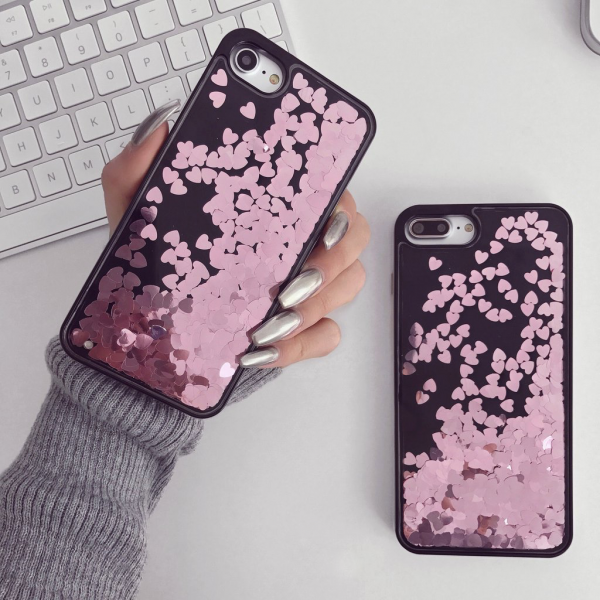 Roze Hartjes Hoesje iPhone 7 Plus